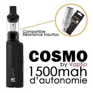 Kits E-cigarettes - Vaptio - Pack Cosmo 2ml 1500mAh noir - Smoke clean à Etampes 91150 en Essonne 91 France